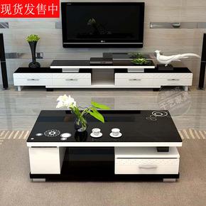 黑白款可伸缩电视柜茶几组合家具现代简约大小户型影视柜茶几套餐