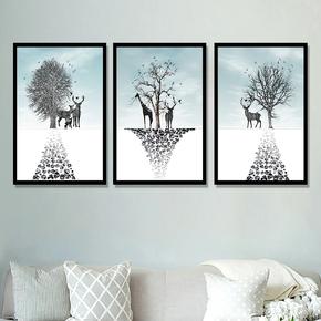 客厅装饰画餐厅卧室挂画沙发背景墙北欧风景挂画现代简约立体有框
