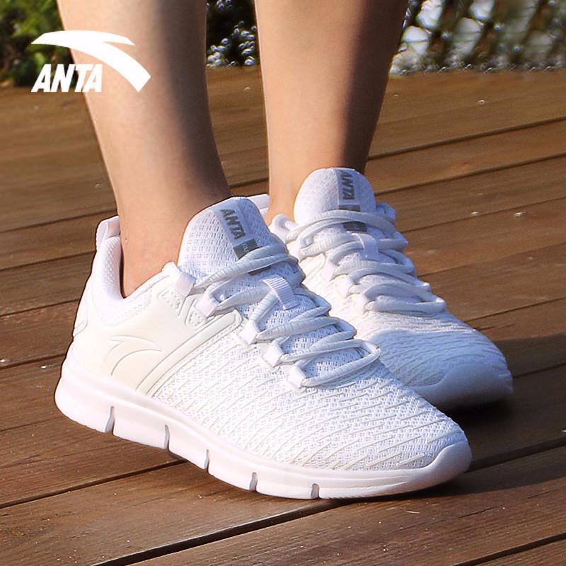 安踏运动鞋女跑步鞋2019秋季新款网面轻便透气软底女子休闲鞋女鞋