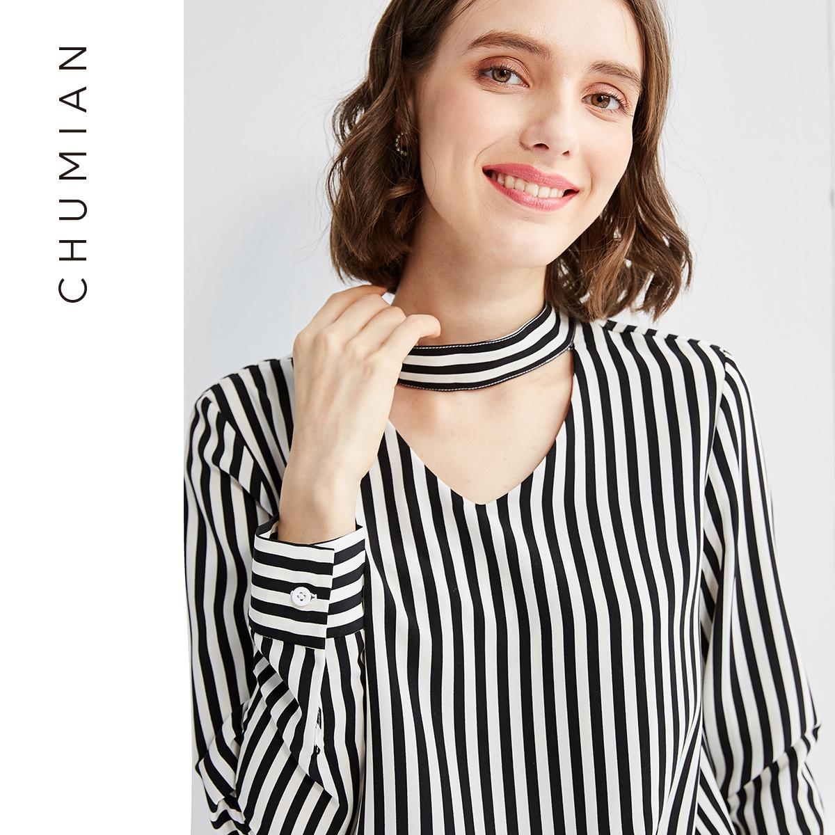 初棉2018春装新款显瘦条纹V领衬衫女套头颈部飘带蝴蝶结套头衬衣