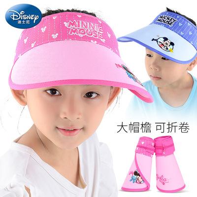 迪士尼儿童帽子夏男童女童薄款大檐空顶太阳防晒伤宝宝遮阳鸭舌帽
