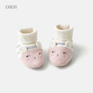papa爬爬秋冬男女宝宝高帮保暖小鞋子新生儿袜套婴儿鞋袜10-12cm