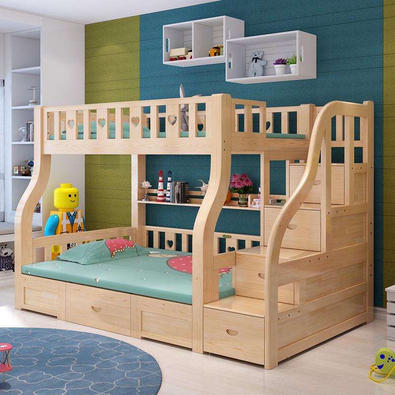 上下床双层床子母儿童床多功能组合成人上床下桌高低床带书桌实木