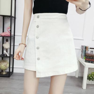 2018夏季韩版女装气质显瘦排扣不规则纯色短裙A字裙裤半身裙女白