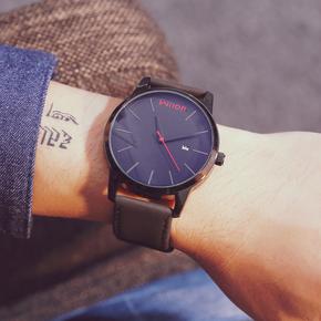 时尚潮手表男学生韩版简约休闲男士手表大表盘防水石英表日历皮带