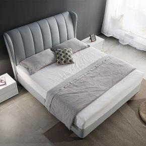 北欧新款真皮床小户型主卧2米皮艺床休闲床简约现代靠背高箱软床