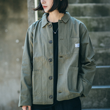 Japanese Amika military retro handsome BF leisure loose three bags lapel jacket autumn jacket men and women