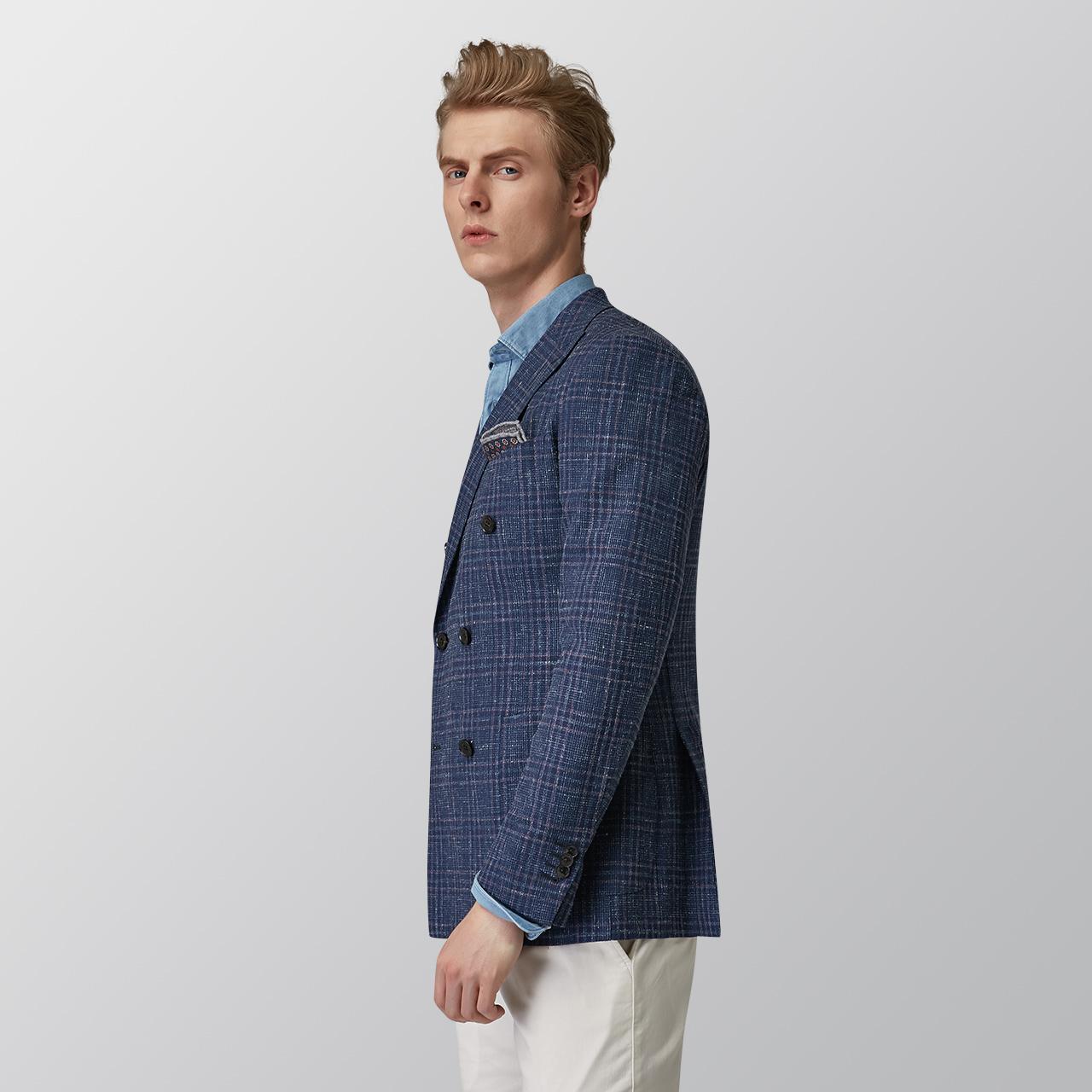 柏品 Lite Reda羊毛亚麻桑蚕丝 男士双排扣格纹西装 戗驳领西服