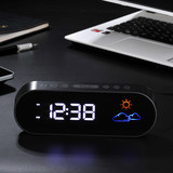 Hong Kong NiD weather forecast muted color LED digital table clock radio alarm clock electronic bedside clock