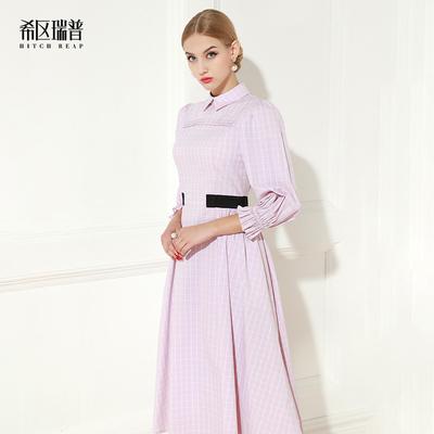 希区瑞普长袖连衣裙2018秋季新款欧美名媛复古ol淡粉色伞裙格子裙