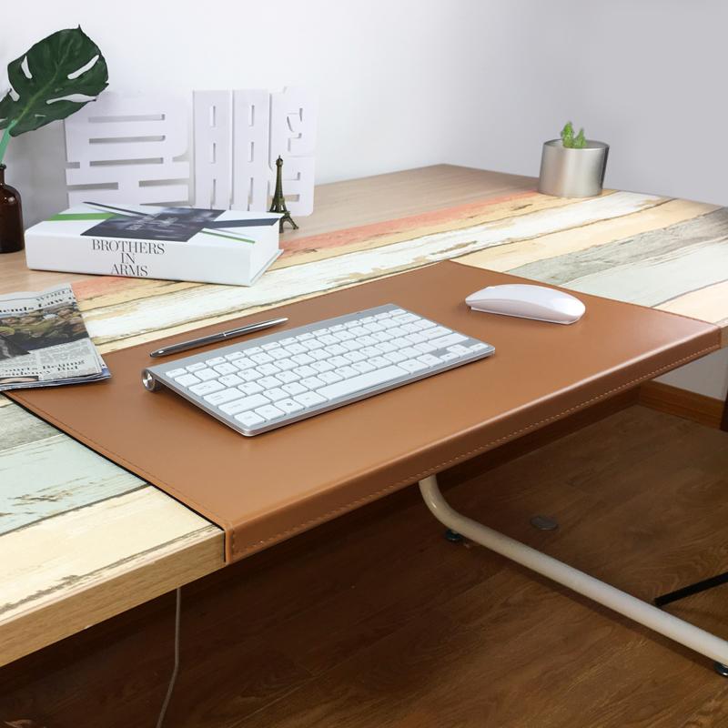 电脑办公写字桌垫带折边桌垫商务扣边办公用品超大皮革鼠标垫定制
