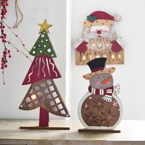 诺琪 北欧风木质发光圣诞树灯饰摆件 圣诞老人雪人挂饰圣诞装饰品
