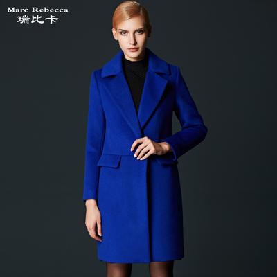 瑞比卡2017冬装新款羊毛大衣女欧美中长款纯色呢子大衣女毛呢外套