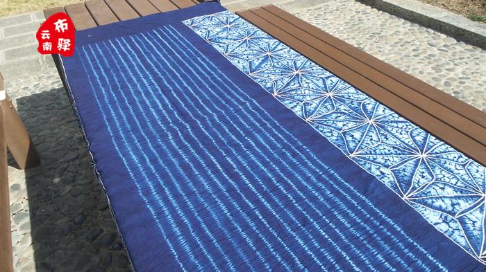 云南大理手工精品扎染床单桌布沙发布—蓝苍山雪(245×195CM)