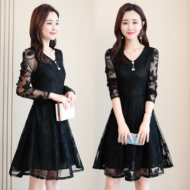 蕾丝连衣裙春季2019新款女装韩版大码时尚收腰修身中长款裙子女夏