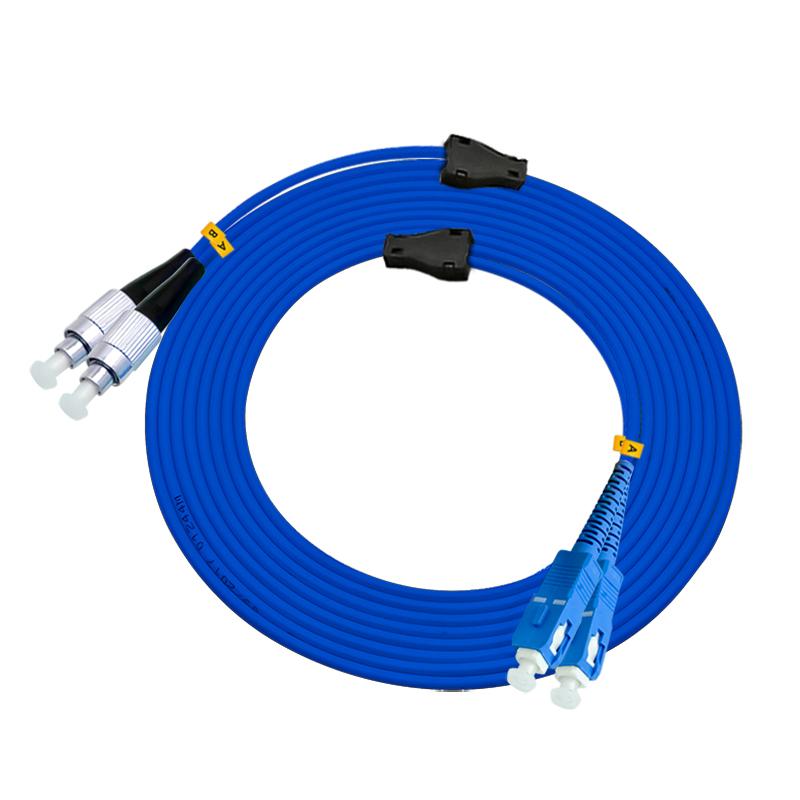 电信级150米SC-FC单模双芯铠装光纤跳线单模铠甲线防鼠金属钢丝