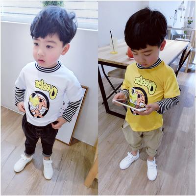 男童长袖t恤2018春秋款假2件体恤中小儿童2-3-56岁宝宝卡通上衣韩