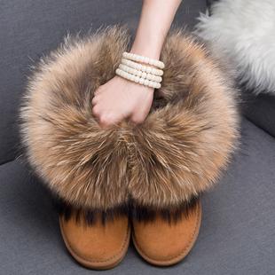 女狐狸毛真皮雪地靴