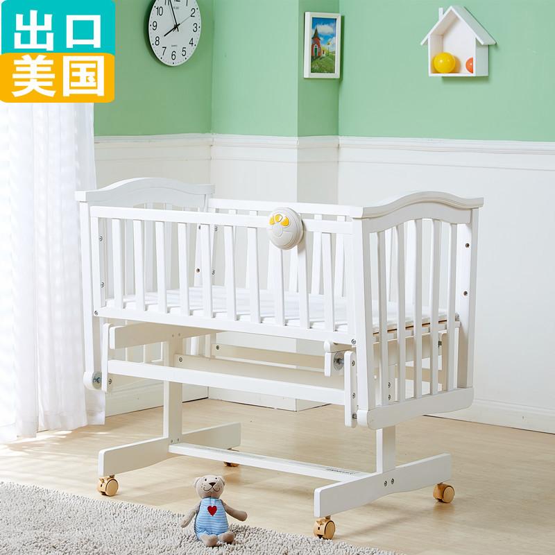 新出口美国实木环保宝宝摇篮婴儿床摇床静音新生儿床送床垫床边床