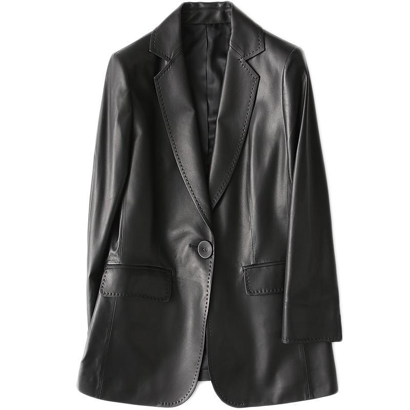 憨厚皇后 海宁真皮皮衣女士2018春季新款修身绵羊皮小西装外套70