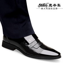 Old-fashioned car heightened sandals Men's leather shiny sandals Summer air permeable and odor-proof men's shoes formal occasion