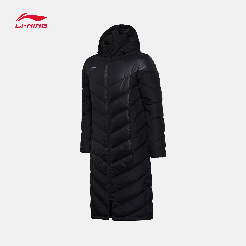 李宁长款羽绒服男士足球系列保暖连帽冬季白鸭绒运动服