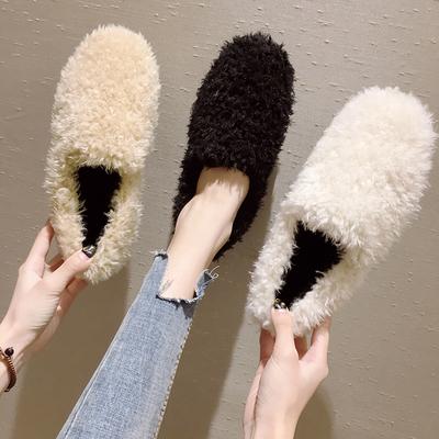 豆豆鞋女2018新款冬季白色百搭网红单鞋平底毛毛鞋外穿加绒鞋子冬