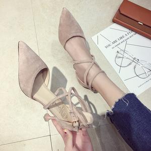 春季单鞋女2018新款小清新百搭猫跟尖头细跟高跟鞋一字扣晚晚女鞋