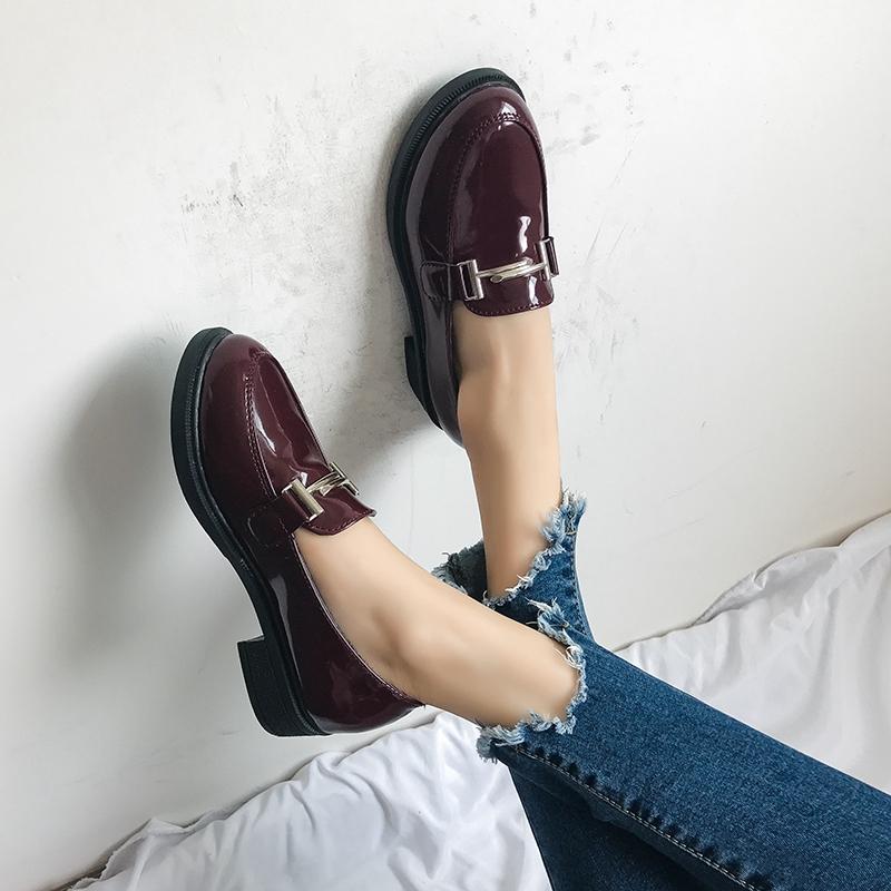 春秋季新款低跟圆头英伦学院风小皮鞋金属扣粗跟单鞋 2017 乐福鞋女