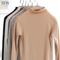 STW Modal no trace female autumn and winter thermal underwear in the middle of the high collar bottoming shirt solid color wild long-sleeved T-shirt top