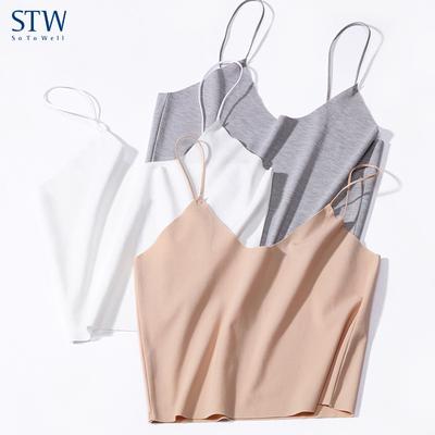 STW莫代尔无痕吊带小背心女士抹胸超薄短款外穿内搭露脐打底内衣