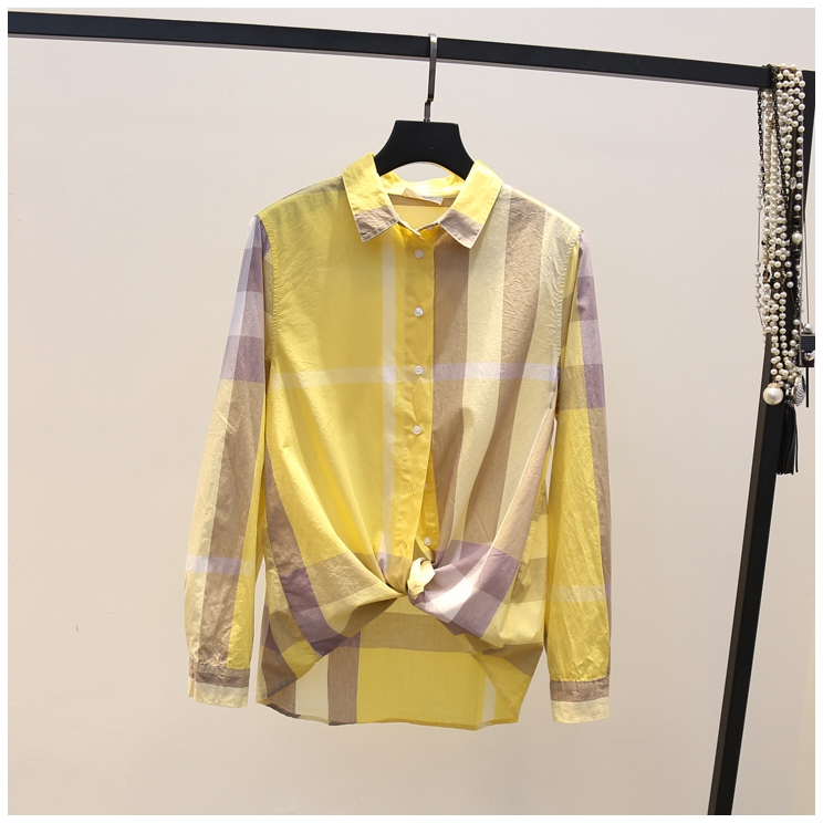 棉质格子衬衣女