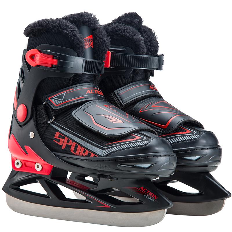 动感新款加毛绒球刀鞋专业可调冰刀鞋初学者花式溜冰鞋真冰鞋男女