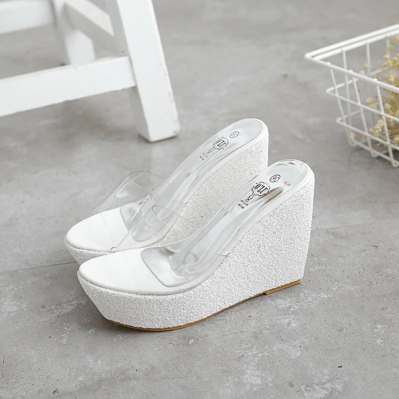 女鞋防水台一字拖凉拖鞋擦地拖 闪闪亮片性感透明胶片超高跟坡跟
