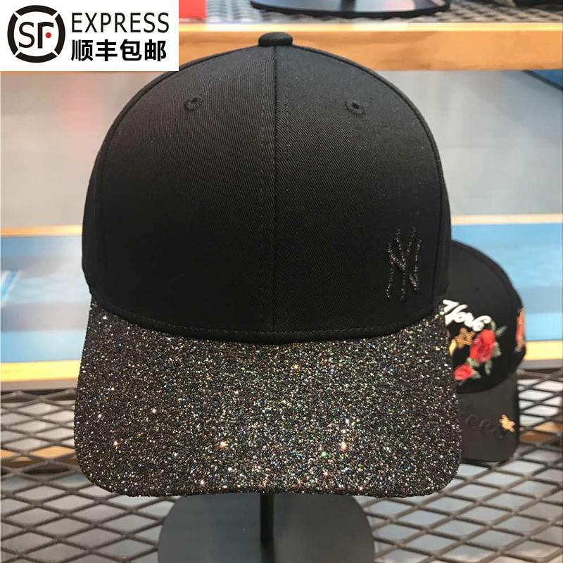 韩国正品MLB现货17夏百搭帽子亮片 黑色棒球帽 黑色亮片