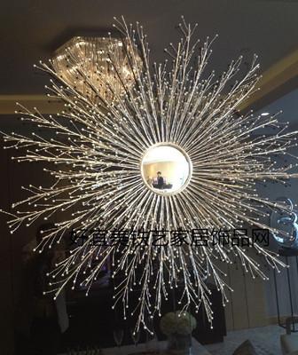 欧式金属铁艺太阳镜立体抽象花朵装饰镜壁饰壁挂酒店软装墙饰挂件