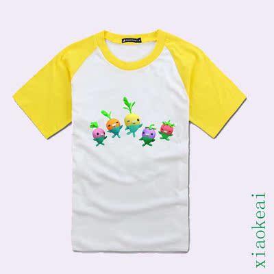 海底小纵队图案衣服儿童小萝卜上衣短袖T恤纯棉夏装女童男童半袖