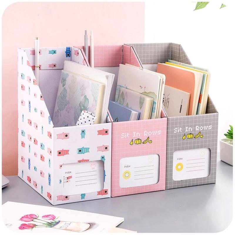 书本文件夹桌面收纳盒纸质书架办公文具学生创意可爱书立盒整理箱