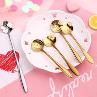 Japanese creative cartoon golden cherry coffee spoon stainless steel small spoon long handle cute dessert milk tea stirring spoon