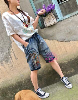 DM43夏季文艺民族风刺绣花朵郁金香牛仔中裤女宽松显瘦牛仔五分裤