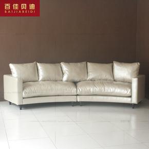 优质皮沙发 弧度沙发 全真皮沙发 时尚组合黄黄色沙发 弧形皮沙发