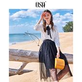 新款 OSA欧莎2019春装 雪纺衬衫 设计感小众条纹印花九分袖 韩版