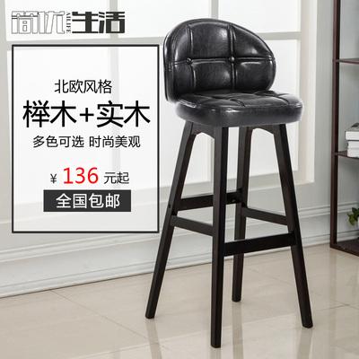 实木吧台椅家用现代简约可定制吧椅欧式酒吧椅高脚凳吧台凳靠背椅