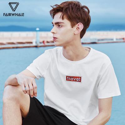 马克华菲短袖t恤男士2018夏季新款体恤衫白色衣服韩版半袖潮流
