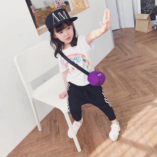 女童白色卡通T恤2018春装新款儿童圆领短袖上衣韩版童装休闲百搭