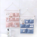 Cotton and linen storage fabric wall hanging bag storage bag multi-layer cartoon waterproof hanging bag wall-mounted door behind the dormitory