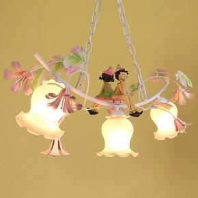 吊灯田园风格铁艺花草灯创意儿童卡通卧室餐厅小吊灯韩式个性浪漫