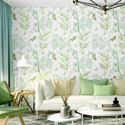 Small fresh wallpaper literary modern minimalist rustic style green small floral warm bedroom living room Nordic wallpaper