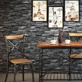 个性仿古复古文化石墙纸餐厅餐馆店铺装修电视背景墙青砖砖纹壁纸