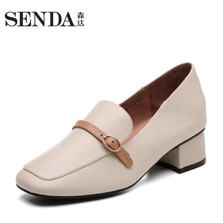 Senda/森达2019春季新款专柜同款通勤中粗跟舒适女单鞋VTE20AM9商品大图